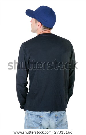 man from the back - looking at something over a white background