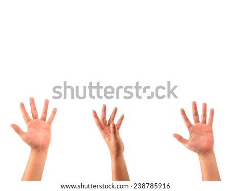 man hands isolated on white background. - stock photo