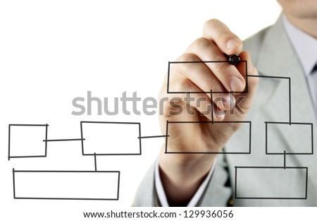 man in a business suit makes a block diagram on a blackboard - stock photo