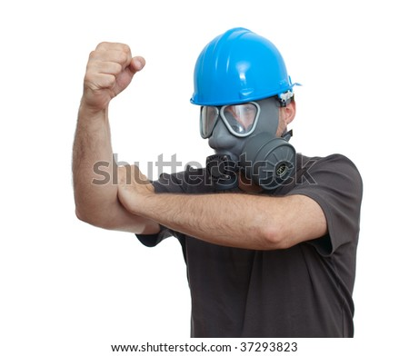 man in hardhat and gas mask