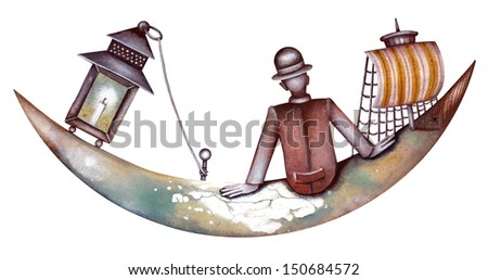 Man on the moon. Illustration by Eugene Ivanov. - stock photo