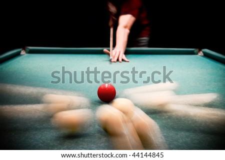 Man Plays Billiards Moment Breakdown Spheres Stock Photo Royalty - Pool table breakdown