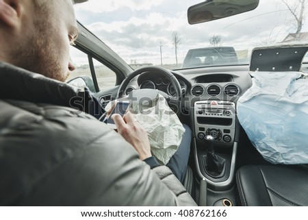Man was in car accident, shot airbag  - stock photo