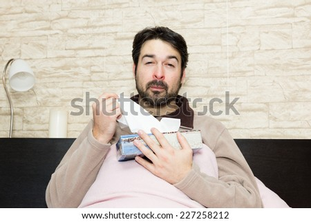 man with sniff - stock photo