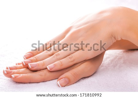 manicure on the white towel