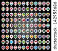 108 Map marker with flags. Vector version (eps) also available in gallery - stock photo
