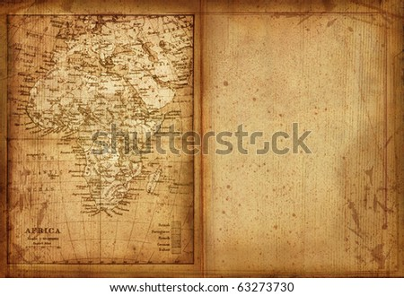 33 Map of Africa edit in a travel guide of 1888 - stock photo