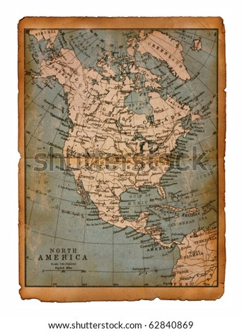 39 Map of North America edit in a travel guide of 1888 - stock photo
