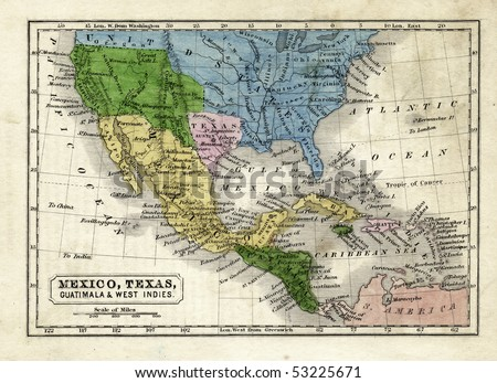 1845 Map of the Texas Republic, United States, Mexico and Central America - stock photo