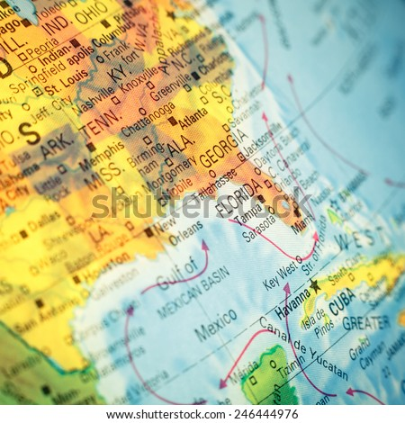 Map South East USA .  Close-up macro image of  map Southeast America. Selective focus  - stock photo
