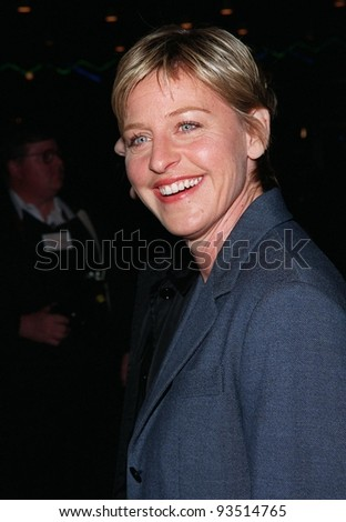 """12MAR98:  Comedienne ELLEN DEGENERES at the world premiere of """"Primary Colors,"""" in Hollywood. - stock photo"""