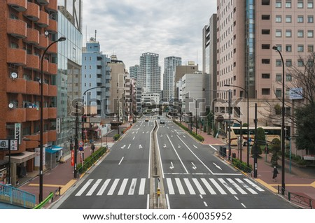 22 Mar 2016 : Japan Tokyo city in the morning is quiet , peaceful and no traffic jams