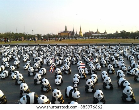 """04 MAR 2016 : The Panda in Thailand ,Under the concept """"1600 Pandas World Tour in Thailand :For the World we live in and the ones we love"""" with the WWF, Bangkok, Thailand - stock photo"""