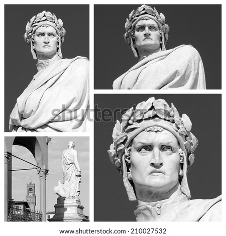 marble statue of  Dante Alighieri collage, his Divine Comedy is  the greatest literary work  in the Italian language and masterpiece of world literature, Piazza di Santa Croce, Florence, Italy - stock photo