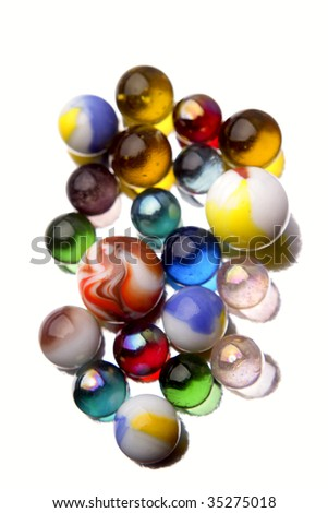 Marbles isolated over white - stock photo