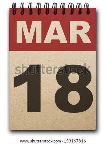 18  March calendar on recycle paper - stock photo