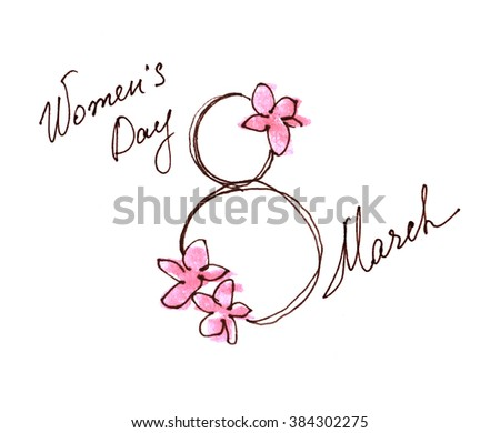 8 march drawing sketch ink pencil watercolor womens day postcard