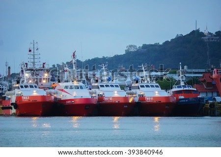 March 22, 2016 in Sonkhla, Thailand,The Cargo ship in Songkhla Lake Songkhla  in evening time on March 22, 2016 in Sonkhla, Thailand