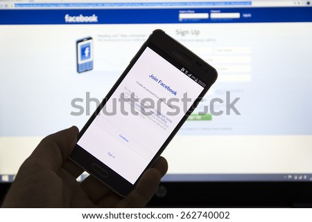 23 March 2015 - Istanbul, TURKEY: Facebook Sign up screen. The number of active mobile users Facebook has reached 1 billion people - stock photo