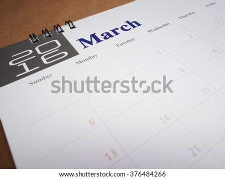 2016 March on calendar page, desk calendar - stock photo