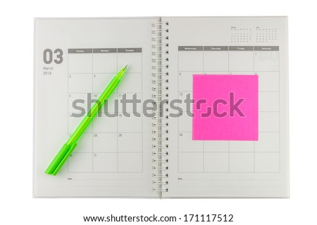 2014 March organizer with pen & post-it. - stock photo