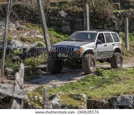 14 March 2015 - 4x4 Off-Road Drive by TT Lanhoso, public event in Povoa de Lanhoso. - stock photo