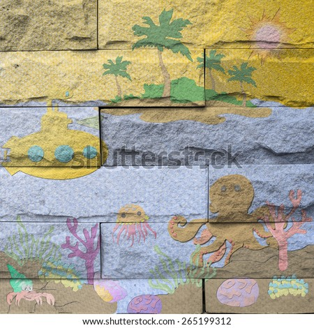 """marine life in ocean"" Mural. The brick painting concept"