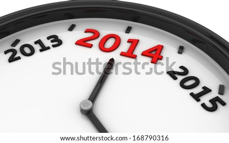2014 marked by the hands of a clock and sides between 2013 and 2015 - stock photo