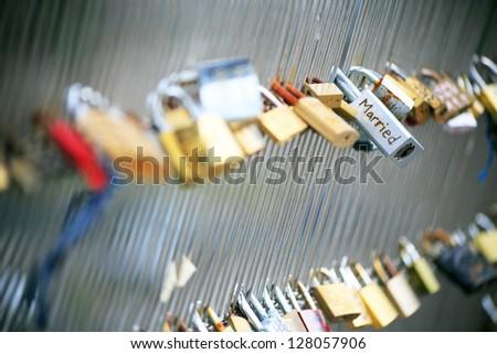 """Married"" lock on a bridge in Paris - stock photo"