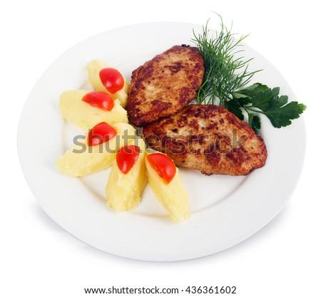 mashed potatoes with steak  - stock photo