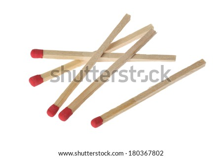 5 match sticks on white background