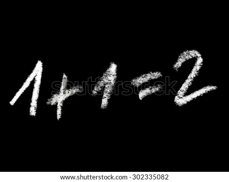 """1+1=2"" math concept isolated on black background - stock photo"