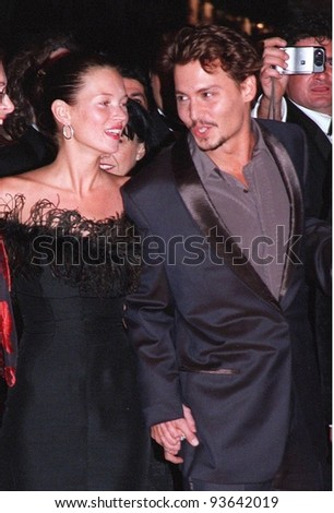 "15MAY98:  Actor JOHNNY DEPP & supermodel girlfriend KATE MOSS at Cannes Film Festival to promote his movie, ""Fear and Loathing in Las Vegas."" - stock photo"