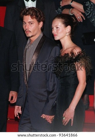 """15MAY98: Actor JOHNNY DEPP & supermodel girlfriend KATE MOSS at the Cannes Film Festival to promote his movie, """"Fear and Loathing in Las Vegas."""" - stock photo"""