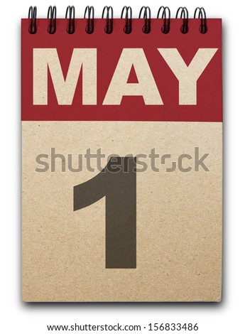 1 May calendar on recycle paper - stock photo