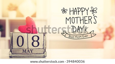 8 May Happy Mothers Day message with wooden block calendar  - stock photo