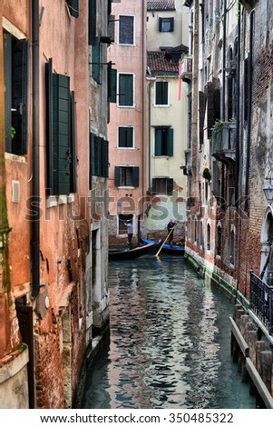 2013, may, 02, Italy, Venezia, Gondolas on canal in Venice, 2013, may, 02, Italy, Venezia - stock photo