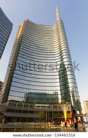 "27 May 2016: New area porta nuova to Milan Italy. Immediately following completed of the works by the modern name of the ""Porta nuova"" with the detail of the tower Unicredit. Ready for expo 2015."