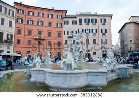 23 may 2015-rome-italy-Sea nymph in the fountain of Neptune in Piazza Navona in Rome - stock photo
