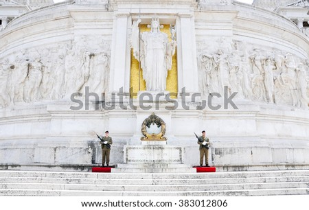 23 may 2015-rome-italy-soldiers guarding the altar of the fatherland in rome,italy
