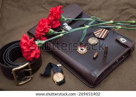 9 May. Still life with vintage objects dedicated to Victory Day. - stock photo
