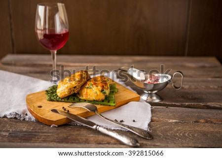 Meat Pie with red  wine Wooden background Copy space - stock photo