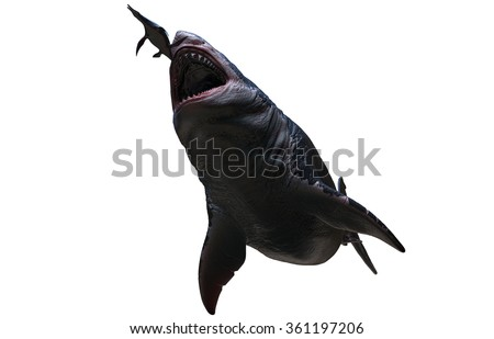 Megalodon about to eat a Dolichorhynchops. - stock photo