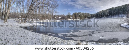 18 megapixel panoram Beautiful rural landscape with a tree and small river