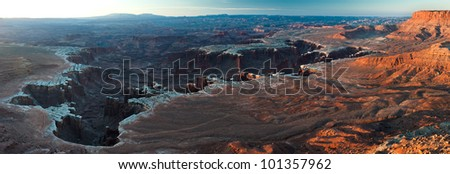53 Megapixel panorama of the White Rim Canyonlands National Park - stock photo