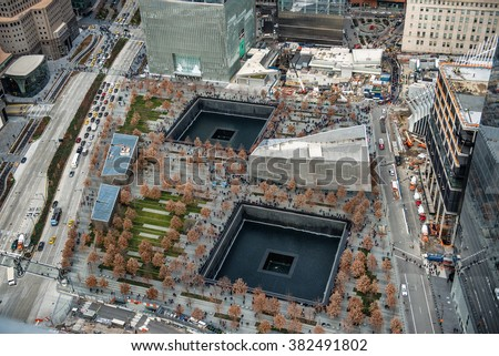 9/11 Memorial park, aerial view in Manhattan New York City - stock photo