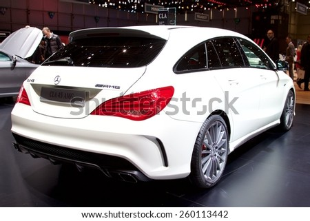 2015 Mercedes-Benz CLA45 AMG Shooting Brake presented the 85th International Geneva Motor Show on March 3, 2015 in Palexpo, Geneva, Switzerland