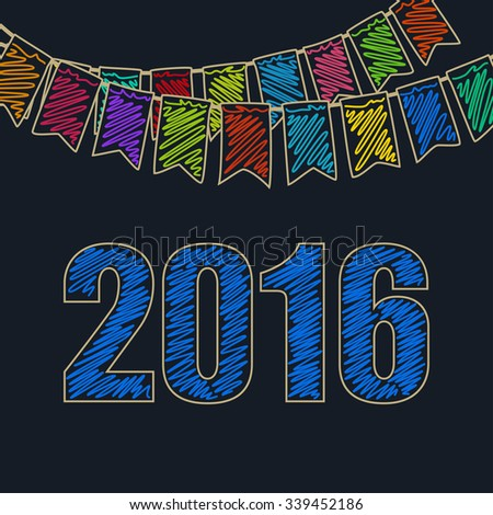 2016 Merry Christmas and Happy New Year, Christmas Festive Background, Holiday Colorful Colored Bunting Flags and the Blue Date of 2016, Drawing Crayons or Markers - stock photo