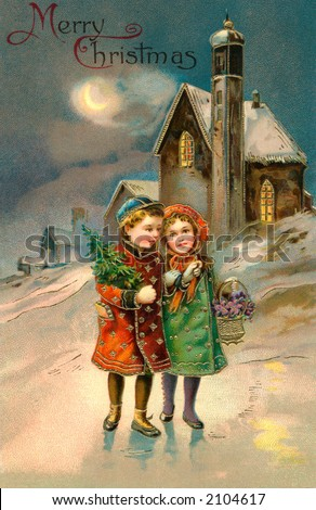 'Merry Christmas' - Children on a moon lit Christmas eve - a circa 1912 vintage greeting card illustration. - stock photo