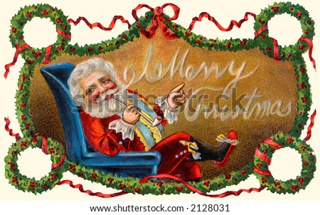 'Merry Christmas' - Santa Claus blows a Christmas greeting from his pipe smoke - a circa 1909 vintage greeting card illustration. - stock photo